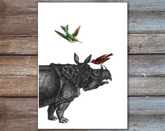 rhino art, rhinoceros poster -  hummingbird illustration, digital print