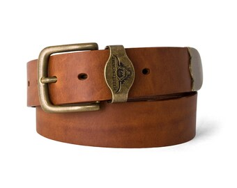 "CHAGFORD - Handmade Leather Belt [1.5"" wide]"