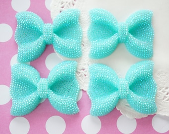 4 pcs Big Bling Bow Cabochon (40mm52mm)  AB Aqua blue BW189 (((LAST/No restock)))