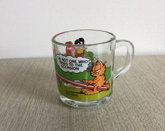 Glass Garfield Mug | 1970s McDonalds |  Odie, Nermal, Arlean on Seesaw