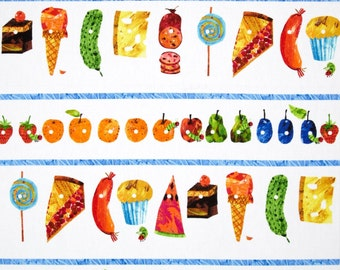 The Very Hungry Caterpillar Food Stripes From Andover Fabrics by Eric Carle
