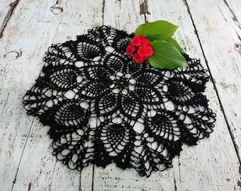 Black crochet doily: cotton crocheted doilies, black table cloth, home decoration, table centerpiece, round lace tablecloths, Christmas gift