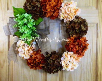 Spring wreath - wreaths - summer wreath - hydrangea wreath - grapevine wreath -  mothers day wreath- house warming gift