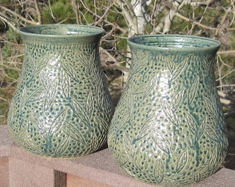 SALE Vase with Hand Carvings of Falling Leaves  - See shop for more handmade pottery