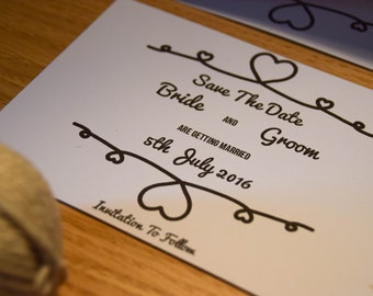 Save The Date. Tie The Knot Theme. A6 or A7