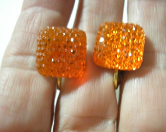 Play Earring - Clip - Square Jewel - Orange - 1/2""