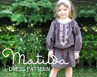 Matilda - Girl's Peasant Dress Pattern PDF. Girl's Long Sleeved Sewing Pattern Sizes 12m-10 included Instant Download