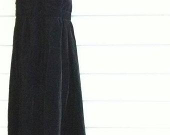 70's black velvet plunge back gown 2/4 Small Kelly Arden disco elegant dress glamorous long maxidress vintage