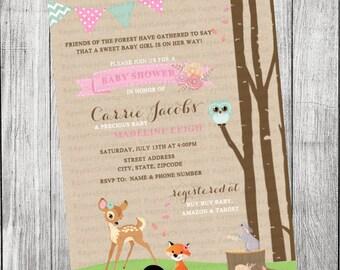 Woodland Forest Girl Baby Shower Invitation