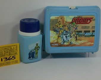 1980's Thermos Brand StarWars Droids lunchbox with rare Thermos