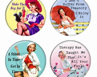 Sassy  Pinup Girls Squirrel Girl, Umbrella Girl, Sailor Girl and Roses Girl Magnets or Pinback Buttons or Flatback Medallions Set of 4