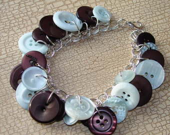 Bracelet - Light blue and chocolate brown button bracelet