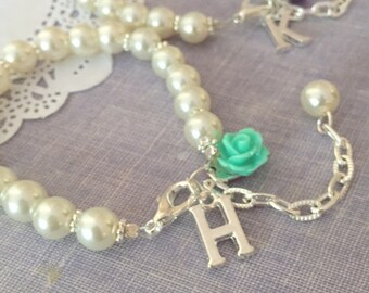 Pearl, Flower Girl, bracelet, adjustable, personalized, initial bracelet. Choose rose.