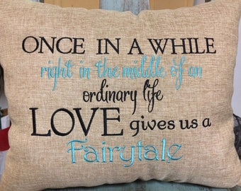 Custom Embroidered Wedding or Anniversary Pillow Front and Back 12x16 on average