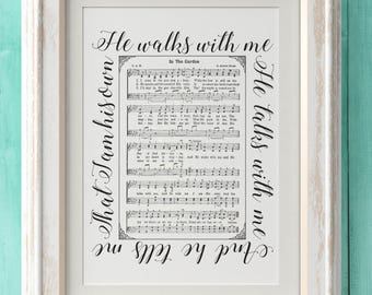 In The Garden - Hymn Print - Hymn Art - Hymnal Sheet - Home Decor - Music Sheet - Gift - Instant Download - Faith - Inspiration