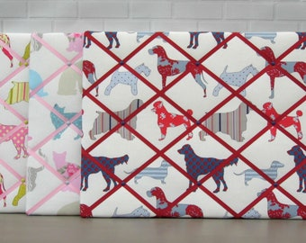 Dog memo board, cat memo board, fabric noticeboard, memory board, dog print, cat print, Ashley Wilde Felix & Hollyfield fabric, 40 x 50 cm