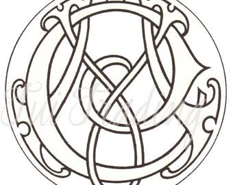Monogram MC, SVG Digital Letters, Initials Clipart, Antique Lettering, Printable Downloadable, Victorian Initials CM