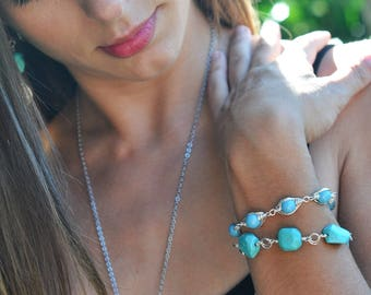 Howlite Turquoise Native American Inspired Tribal Adjustable Crystal Pearl bracelet and Nugget Bracelet with Leaf Charm