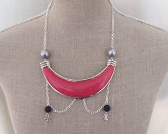 CLEARANCE silver chain necklace red and black