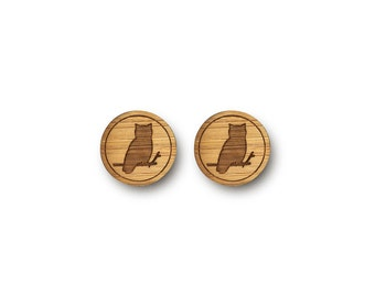 Mini Wise Owl Earrings. Owl Earrings. Wood Earrings. Stud Earrings. Laser Cut Earrings. Bamboo Earrings. Gifts For Her. Gift For Women. Hoot