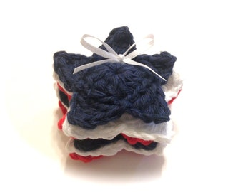 Patriotic Stars Crocheted Make-Up Removers-Red, White, And Indigo-Set Of Six