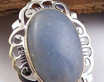 ANGELITE gem PENDANT, light stone stone natural chakra esotericism protection healing minerals KB4.2 care