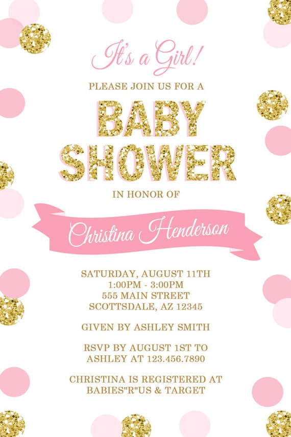 Pink and Gold Polka Dot Baby Shower Invitation It\'s a