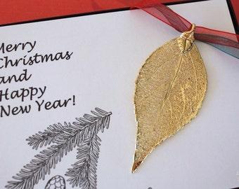 Evergreen Leaf Ornament Gold, Evergreen Leaf, Evergreen Leaf Extra Large, Ornament Gift, Christmas Card, ORNA76