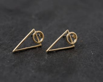 Minimalist Golden Earrings|Minimal|Contemporary|Circle|Triangle|Gold Finishing|Tiny Earrings|