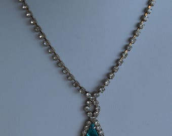 """Teal Blue, Clear Rhinestone Necklace, Silver tone, Vintage, 16"""" (P15)"""