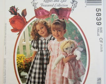 McCall's 5839 Girl's & Doll's Dress and Pantaloon Sewing Pattern Sizes 4 - 6 Uncut