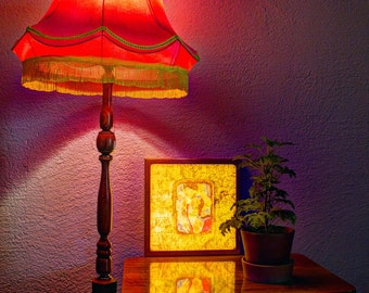 Picture night light - Kamasutra. Gives you good mood light in the bedroom. India style  Natural wood oak. Night pair lamp
