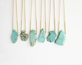 Raw Turquoise Pendant Silver/gold covrered Necklace