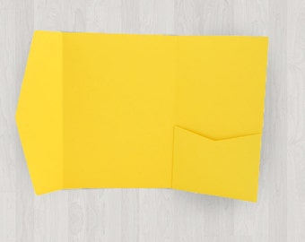 10 Large Vertical Pocket Enclosures - Yellow - DIY Invitations - Invitation Enclosures for Weddings and Other Events
