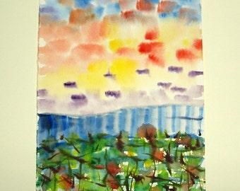 """LIVRAISON gratuite aquarelle originale. Peinture originale.  9,7 """"x 6,3"""" (24 x 16 cm)"""