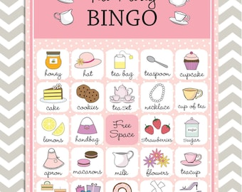 Tea Party Bingo in pink, 20 unique game cards, Printable Instant download!
