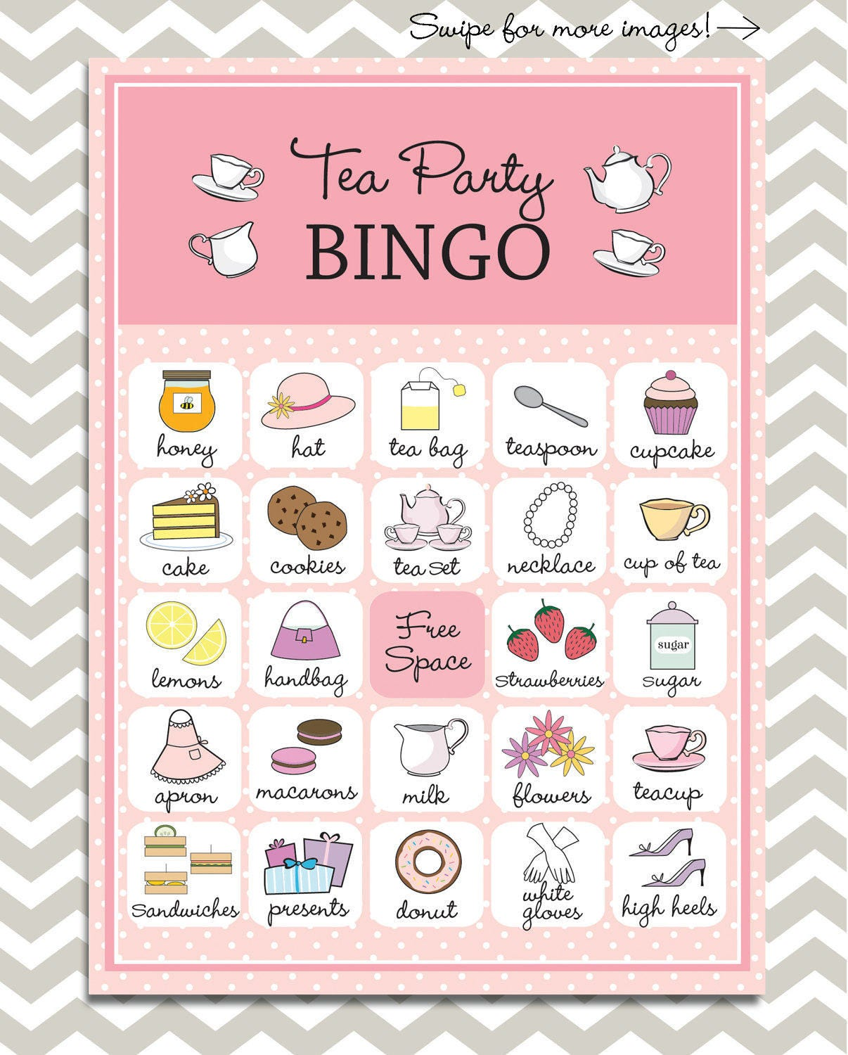 Tea Party Bingo in pink 20 unique game cards Printable