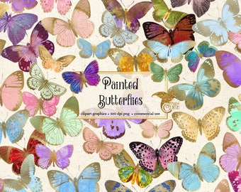 Painted Butterflies Clipart, gold foil butterfly clipart, butterfly illustrations, PNG graphics, scrapbook embellishments commercial use