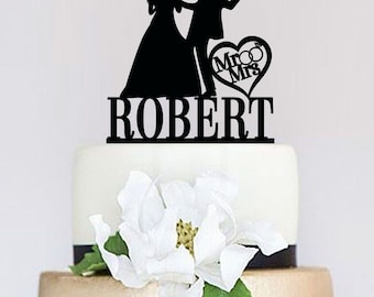 Funny Wedding Cake Topper,Mr and Mrs Cake Topper With Last Name,Custom Cake Topper,Bride and groom Silhouette,Unique Cake Topper C074