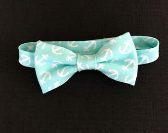 Nautical Aqua Bow Tie, Little Boys Anchor Bow Tie, Aqua Bow Tie for Toddler, Child's Aqua Bowtie, Adjustable Bow Tie for Kids, Pre-Tied Tie