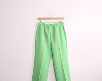 Lime Green 70s Knit Pants