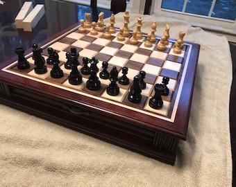 Cherry Chess Set w/ Drawer Storage