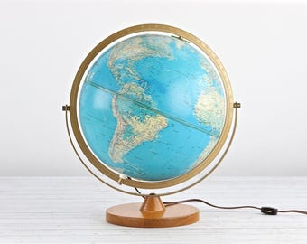 Vintage Light Up Globe Globe Vintage Globe Replogle Light Up Globe Old Globe Mid Century Globe 1950's Globe