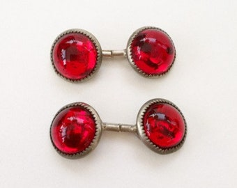 Vintage Red Glass Cuff Links, Antique, Ruby Colored, Cufflinks