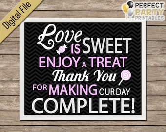 Candy Bar Sign - Love Is Sweet (Black Chevron) Wedding Favor - Cupcake Bar - Dessert Bar - Buffet - Printable - Instant Download - 8x10