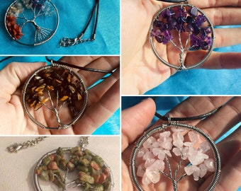 Natural Gemstone Tree of Life Pendant {with chain}