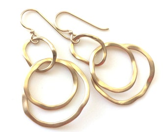 Gold Link Earrings, Modern Gold Earrings, Dangle Earrings