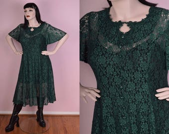 90s Green Floral Lace Dress/ X-Large/ 1990s