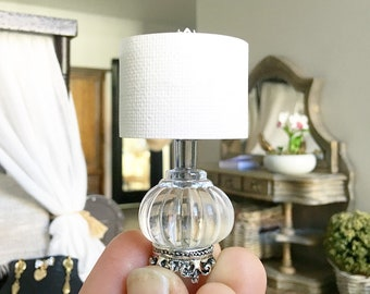 Miniature ornate lamp - non working light - pale blue - Dollhouse - Diorama - Roombox - 1:12 scale