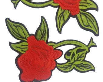 Embroidered Roses Flowers Patches Appliques for Iron on , Red Flower Badges